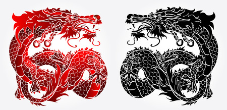 Artful Asian Chinese dragon on white background black and red version