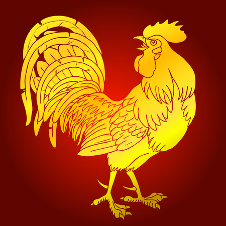 cocky: Fervent gold rooster on red background. Fiery red rooster symbol of the Chinese new year 2017.