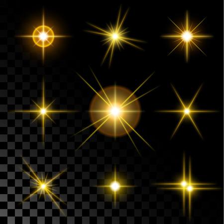 estrellas de navidad: Conjunto de los fuegos brillantes y destellos estrella de oro realista sobre un fondo transparente de un ejemplo del vector.