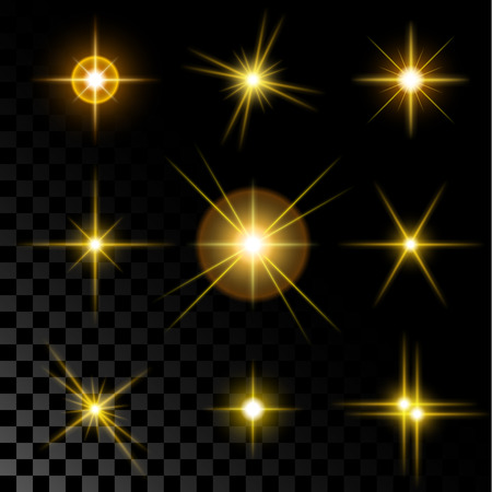 light  beam: Set of the realistic sparkling gold star fires and flashes on a transparent background a vector illustration.