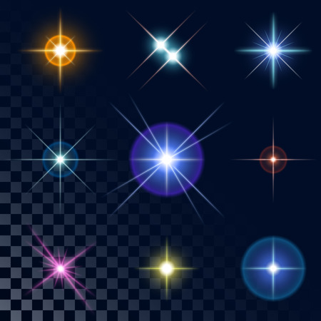 blue star background: Set of the realistic sparkling multicolored star fires and flashes on a transparent background a vector illustration. Blue, red, yellow, pink, violet stars.