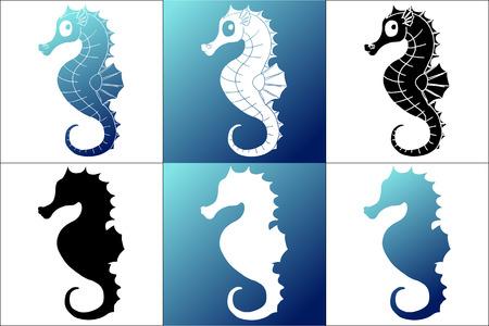 Stel zes silhouet wit, blauw en zwart zeepaardje op witte en blauwe achtergrond Vector Illustratie