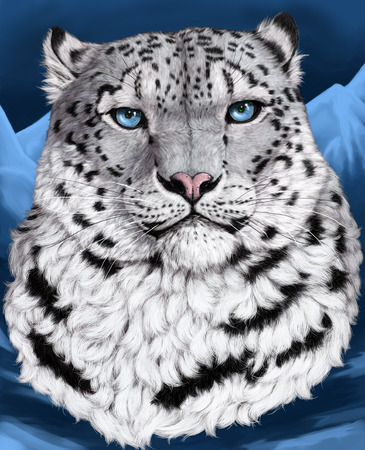 irbis: Snow leopard, irbis - the proud inhabitant of Asian mountains. In the nature of their eye of green or yellow color. Blue color of eyes - a beautiful imagination of the author.