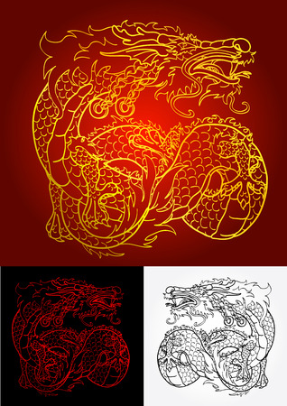 flying dragon: Artful Asian dragon gold, red and black contour on red, black and white background Illustration
