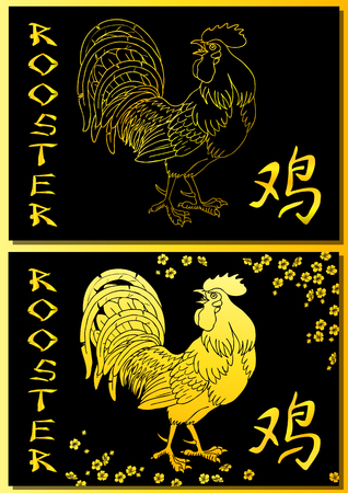spur: Two cards. Fervent red rooster and oriental cherry branch on white background. Fiery rooster, chicken a symbol of the Chinese new year 2017.