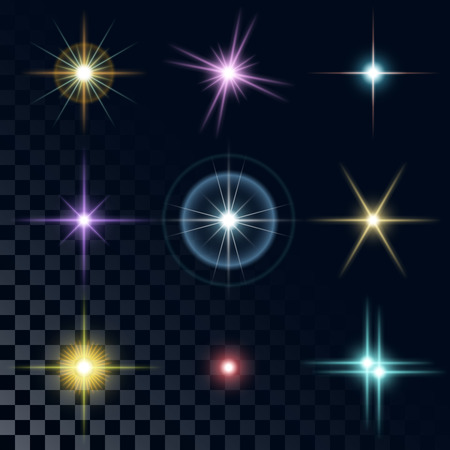 Set of the realistic beautiful multicolored star fires and flashes on a transparent background a vector illustration. Blue, red, yellow, pink, violet stars. Иллюстрация