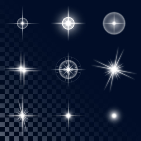 Set of the realistic beautiful white star fires and flashes on a transparent background a vector illustration Ilustração