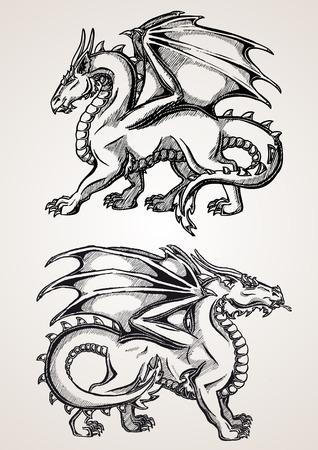 dessin noir et blanc: Deux grand dragon ligne de contour noir sur fond blanc. Croquis de l'art du tatouage, Fantaisie dragon. Croquis de l'art du tatouage, monstre médiéval.