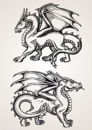 black and white image drawing: Two big dragon black contour line on white background. Sketch of tattoo art, Fantasy dragon. Sketch of tattoo art, medieval monster.