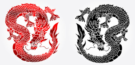black white red: Cunning Asian Chinese dragon on white background black and red version Illustration