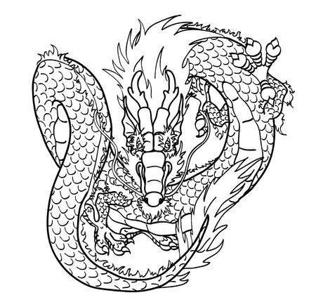 Flying Asian Chinese dragon black contour line on white background Illustration