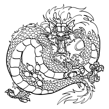furious: Furious Asian Chinese dragon black contour line on white background Illustration