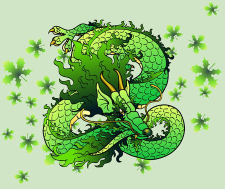 playful: Playful green wood Asian chinese dragon against green leaves