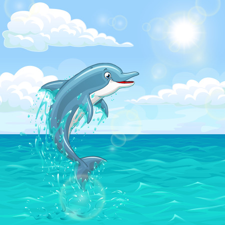 sea water: The dolphin who is jumping out of sea water of the ocean in splashes against the blue sky and the sun. Landscape of summer mood. Illustration