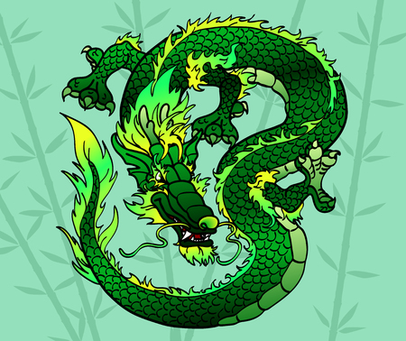 cunning: Cunning green wood Asian Chinese dragon on bamboo Illustration