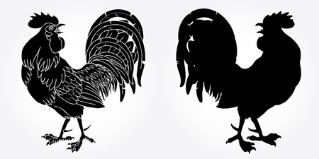 fervent: Fervent rooster black silhouette on white background. Fiery red rooster symbol of the Chinese new year 2017.