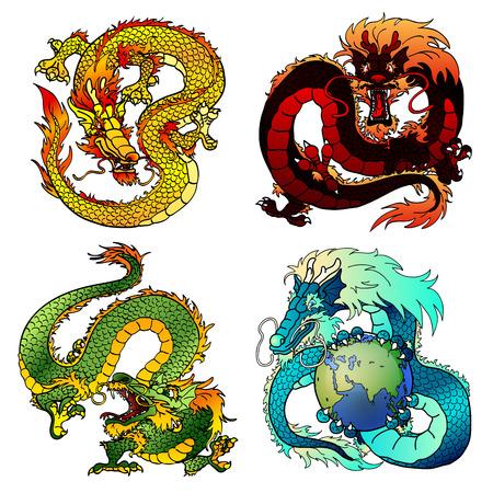 Conjunto de cuatro dragones de Asia Oriental de diferentes flores y elementos en el horóscopo chino. Astuto monstruo de la tierra amarilla. Fuus pangolines rojo fuego. El mal dragón de madera verde. espíritu del agua azul. Ilustración de vector