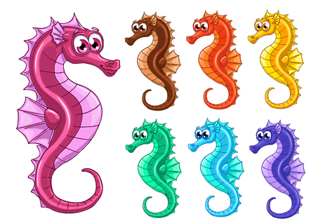 animated film: Set seven lovely cute iridescent sea horses also known as hippocampus on a white background Illustration