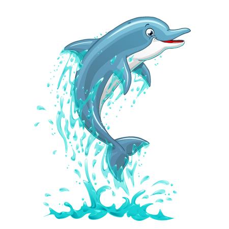 Le dauphin qui saute de l'eau de mer sur fond blanc, isolé. Illustration vectorielle.