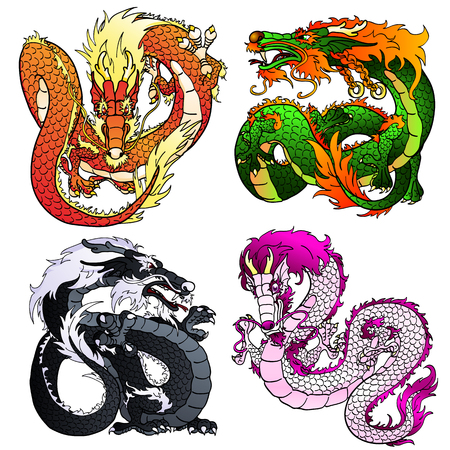 artful: Set of four Asian east dragons of different flowers and elements on the Chinese horoscope. Flying red fiery monster. Artful green wood pangolin. Strong black water dragon. White pink metal spirit. Vector