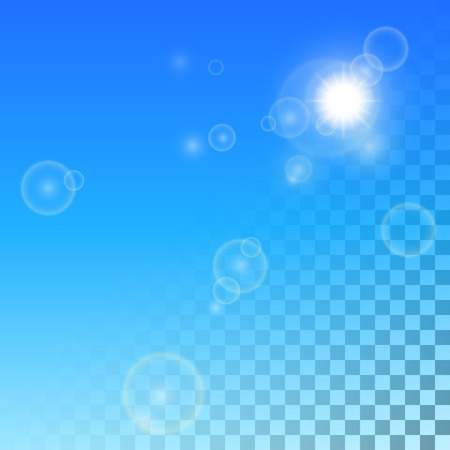 searchlight: The realistic white sun or searchlight and patches of light on a pro-place transparent blue background. Illustration