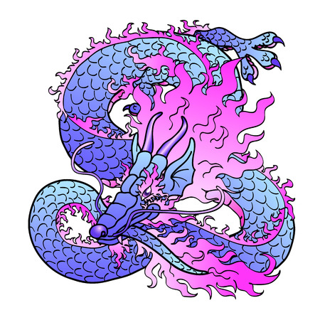 glamorous: Playful glamorous violet with pink space Asian chinese dragon isolated on white background. Vector illustration. Illustration