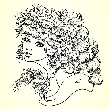 mountain ash: The lovely girl with a wreath from leaves and berries of a mountain ash. Concept of autumn mood. Vector illustration, square, planimetric lines, coloring.