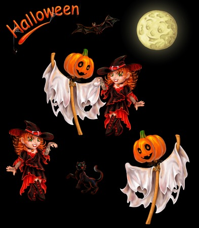 Set of characters for registration of Halloween. Separately on black. An inscription, the cat, a ghost dances with the witch, the moon, a bat, a spider. Stock Photo
