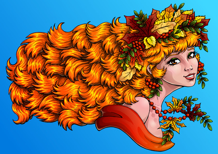 mountain ash: The lovely red girl with a wreath from leaves and berries of a mountain ash . Concept of autumn mood. Vector illustration. Horizontally, banner. Illustration