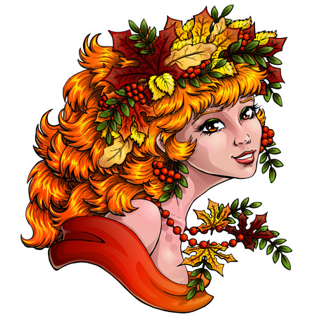 mountain ash: The lovely red girl with a wreath from leaves and berries of a mountain ash. Concept of autumn mood. Vector illustration, isolated. Square, banner. Illustration