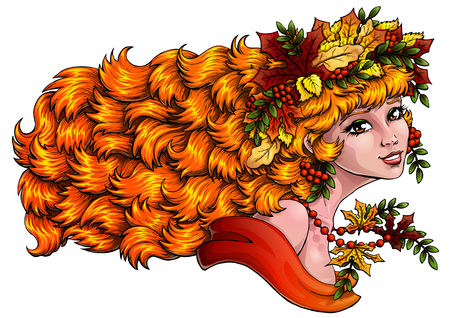 mountain ash: The lovely red girl with a wreath from leaves and berries of a mountain ash on white background, isolated. Concept of autumn mood. Vector illustration. Horizontally, banner.