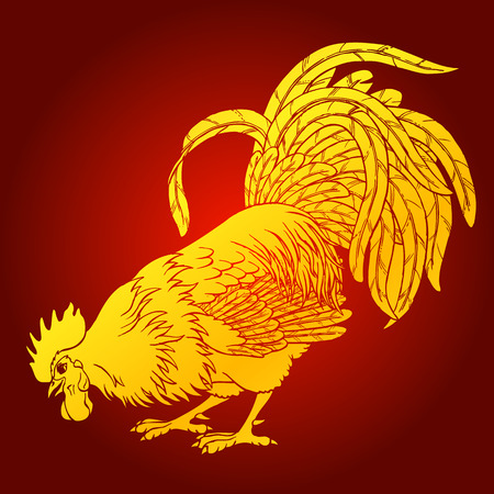 Calling gold rooster on red background. Fiery red rooster symbol of the Chinese new year 2017. Vector illustration.