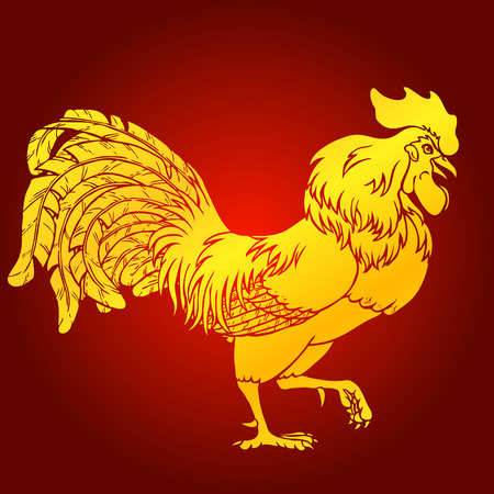 Going rooster gold on red background. Fiery red rooster symbol of the Chinese new year 2017. Vector illustration.