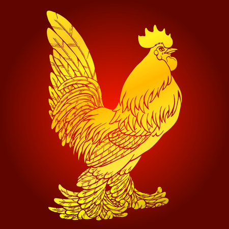 Proud rooster rooster on red background. Fiery red rooster symbol of the Chinese new year 2017. Vector illustration. Иллюстрация