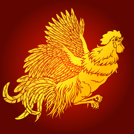 Flying gold rooster on red background. Fiery red rooster symbol of the Chinese new year 2017. Vector illustration.