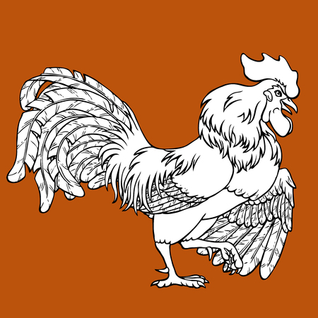 Courting rooster coloring on brown background. Decorative chicken monochrome. Coloring page book. A symbol of the Chinese new year 2017 according to east calendar. Иллюстрация