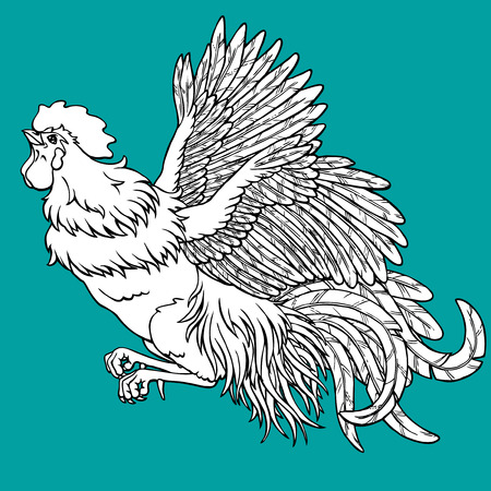 Flying rooster coloring on blue background. Decorative chicken monochrome. Coloring page book. A symbol of the Chinese new year 2017 according to east calendar.