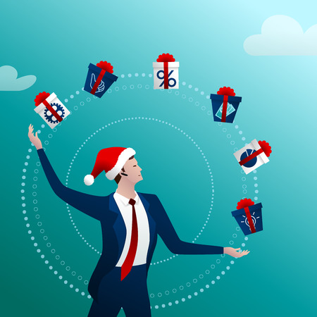 The businessman in a New Year cap with a happy smile juggles gift with boxes and gifts on a blue background. Concept idea. Vector illustration. Иллюстрация