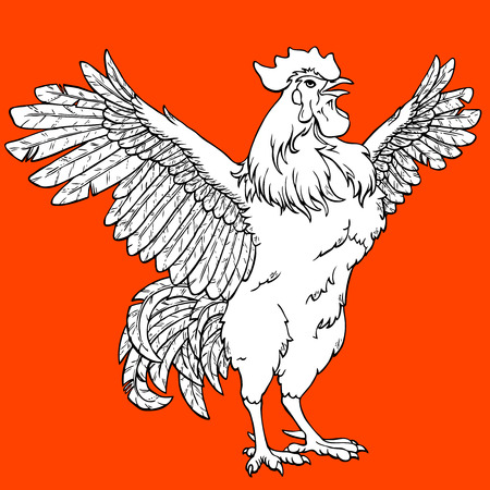 Vigorous rooster coloring on orange background. Decorative chicken monochrome. Coloring page book. A symbol of the Chinese new year 2017 according to east calendar. Иллюстрация