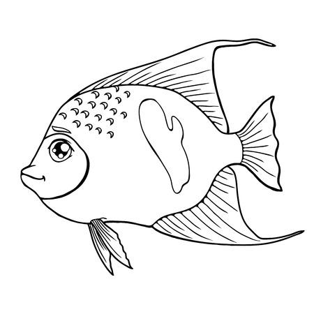 Fish arabian angel black contour on white Illustration