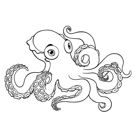 Lovely octopus black contour line on a white background isolated. Marine cephalopod animal. Coloring page book. Vector cartoon illustration. Manual sketch. Иллюстрация