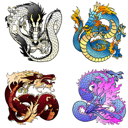 Set of four Asian east dragons of different colors and elements on the Chinese horoscope. Flying white metal monster. Cheerful blue water pangolin. Strong brown earth and playful violet spirits. Иллюстрация