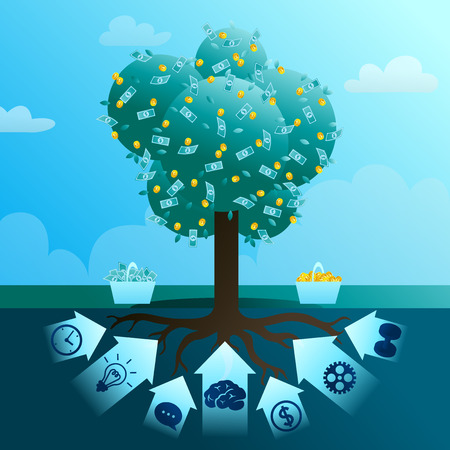 Big monetary tree of business Иллюстрация