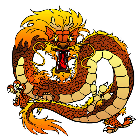 Furious dark-yellow Asian dragon on white
