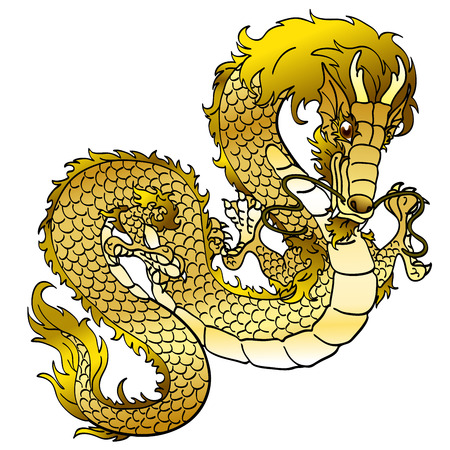 Glamorous golden metal Asian dragon on white
