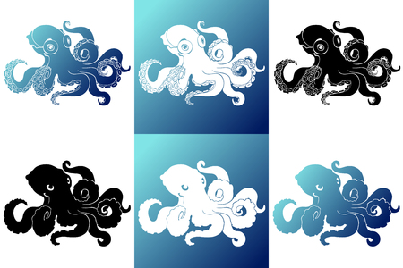 Set six silhouette octopus on white blue