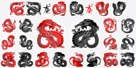 Ste 12 Asian dragon black and red