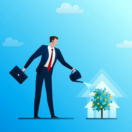 The businessman waters a monetary tree. The person invests in the business. Successful start-up. Concept of business situation. Flat design vector illustration clip art.