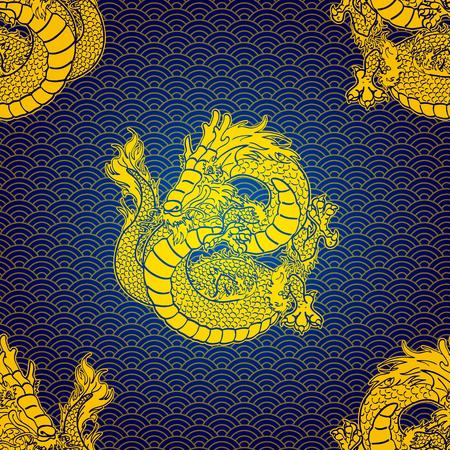 Cheerfull Gold Water dragon pattern Illustration
