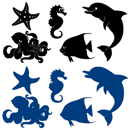 Five marine animals silhouette on white